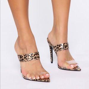 Leopard/clear  Slip on heels